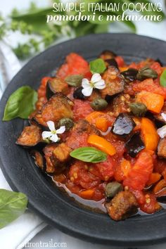 Rustic Italian style eggplants with tomatoes #glutenfree #veganrecipes #italian #vegetarian #eggplantrecipes #pastarecipes
