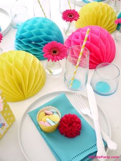 Mother's Day Creative and colorful tablescape idea in pink, yellow and teal
