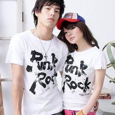 Korean version of the summer lovers summer lovers short-sleeved t-shirt class service ql Korean couple tide d23 short-sleeve shirt