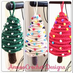 Christmas Tree Crochet Ornaments-FREE Pattern