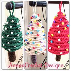 Christmas Tree Crochet Ornaments-FREE Pattern