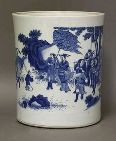 A blue and white Bitong, Qing, of slightly tapering form, painted with an high official beneath Blue And White China, Blue China, Oriental Decor, Blue Dishes, Chinese Ceramics, Pots, Chinese Painting, Fine Porcelain, Antique Glass