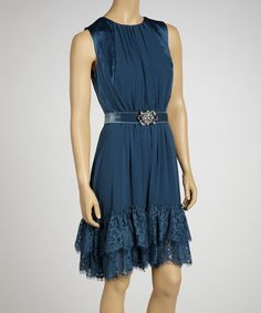 Take a look at this Teal Lace Belted Sleeveless Dress by Jessica Simpson Collection