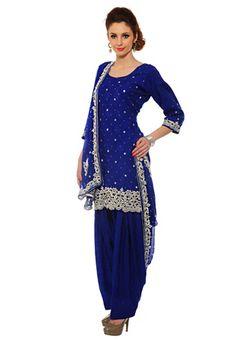 Blue Art Silk Jacquard Salwar Kameez