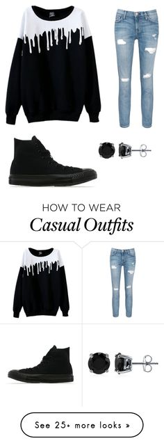 """Casual"" by deborahtaye on Polyvore featuring Current/Elliott, Converse and BERRICLE"