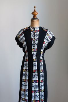 1940s Black floral rayon day dress