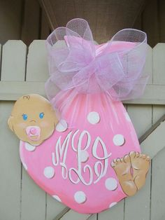 It's a Girl or a Boy Baby Wooden Door Hanger by Earthlizard, $40.00