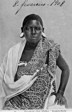 Africa | Swahili woman.  German East Africa.  Dated 1908. || Vintage postcard; private collection Sarah Partridge