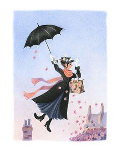 Mary Poppins est une giclée d'art d'une oeuvre aux crayons de couleur et pastel par Geneviève Godbout. L'illustration a été créée pour le livre Mary Poppins, écrit par P.L. Travers, qui sera publié par Houghton Mifflin Harcourt.