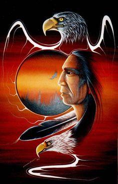 Eagle Spirits by Leonard Bighetty, Northern Cree, Pukatawagon First Nation