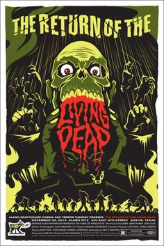 Return of the Living Dead is everything that is good about the Horror genre, zombie films, and good ol' fashioned creature fx and makeup.  It is a bonafide classic and this poster does it bonafide justice!