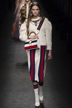 "Gucci, Look #36 ""Catherine de' Medici and '70s sport."" ""Renaissance biker."" "" '80s Italian and French couture."""