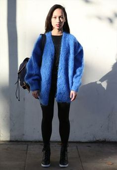Vintage 1980's Electric Blue Over-sized Mohair Cardigan