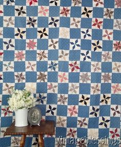 """Beautiful Antique c1880 Indigo Blue Stars Quilt Farmhouse Fresh 