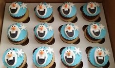 Olaf cupcakes...I think I will make these and brighten up a drab winter day!