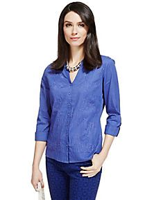 Royal Blue Pure Cotton No Peep™ Floral Embroidered Blouse