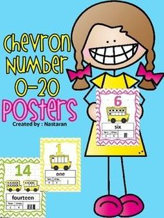 Chevron Number 0-20 Posters include the numbers from 0 to 20.Numbers Posters 0-20 with the number,number word,tally marks,ten frames, and place value!All posters have chevron borders !Poster size: 8.5 * 11
