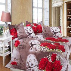 Retro 3d Marilyn Monroe Rose Double Size Bedding Set Sheet Duvet Cover Pillowcas