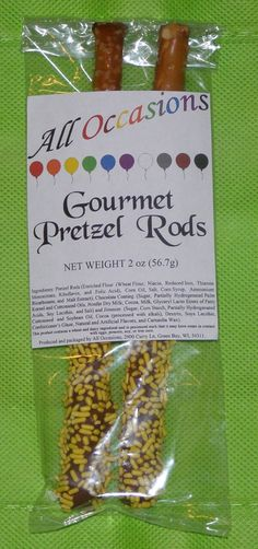 All Occasions Gourmet Pretzel Rods:  Pretzel rods dipped in chocolate and yellow sprinkles.