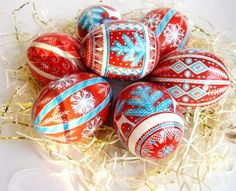 Red  pysanka batik egg, Ukrainian Easter egg pysanka, chicken egg shell hand painted. $26.95, via Etsy.