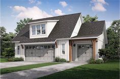 The vertical siding and the white paint hues make this Garage floor plan great and gorgeous with 512 square feet of bonus space. The handsome 3-car garage has 1063 square feet, with 512 square feet upstairs available to be made into living space – or a man cave.