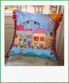 Button Fayre ' house themed ' seaside cushion