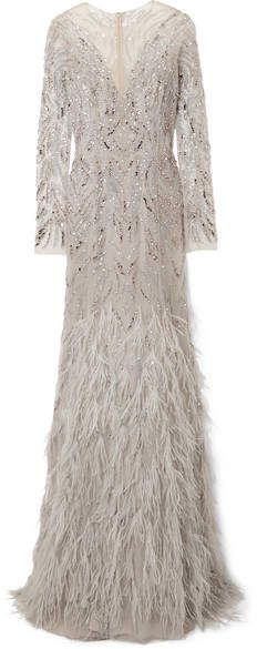 Monique Lhuillier - Embellished Tulle Gown - Light gray