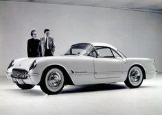 A 1954 Corvette in the showroom.