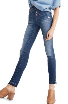 Madewell High Waist Drop Hem Skinny Jeans (Rose Cliff) available at Beste Jeans, Best Jeans For Women, Faded Jeans, Hem Jeans, Nordstrom Anniversary Sale, Skinny Legs, High Waist Jeans, Autumn Fashion, Women's Fashion