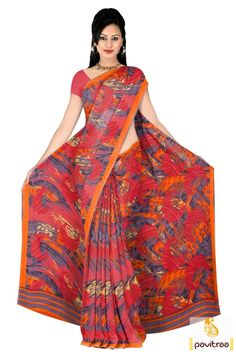 Showcase ethnic grace in this beautiful red pink georgette printed casual wear saree online with low price. Diwali Special Discount Offer:  5% OFF FOR Buy 1 Product 10% OFF FOR Buy 2 Product 15% OFF FOR Buy 3 Product or more  #saree, #casualsaree, #printedsaree, #georgettesaree, #dailywearsaree, #formalsaree More : http://www.pavitraa.in/store/georgette-saree/ Call / WhatsApp : +91-76982-34040  E-mail: info@pavitraa.in