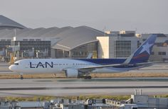 LAN runs two daily flights between Los Angeles and Lima. The morning arrival/midday departure is LAN Chile and continues to Santiago. There is also an evening arrival/night departure by LAN Peru. Lan Chile, Lan Airlines, San Jose Airport, Commercial Aircraft, Day Off, Airplanes, Lima, Peru, Alaska