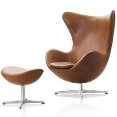 Arne Jacobsen Egg Chair Brown Leather Fritz Hansen