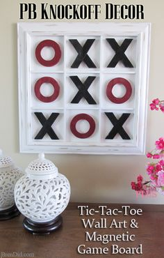 Challenge your loved ones to a rousing game of tic-tac-toe this Valentine's day on this Pottery Barn Inspired Tic-Tac-Toe Wall Art. It's a double duty piece that serves as an adorable piece of décor and a magnetic tic-tac-toe board for 67% OFF retail price. Knock off decor is easy and fun with this DIY tutorial from BrenDid.com!  http://brendid.com/pb-inspired-tic-tac-toe-wall-art-game/