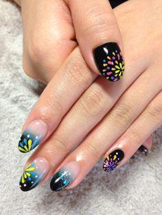 nail art design for short/long nails, fireworks at night, #shortnail #nailart