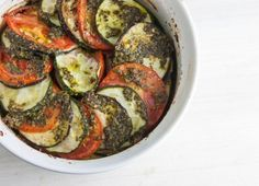 Cheater's Ratataouille, or Pesto Zucchini, Tomato and Eggplant Bake #glutenfree