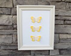Yellow Paper & Burlap Butterflies/Girl Nursery Decor/Nursery Wall Art/Yellow Butterfly/3D Paper Butterflies/3D Wall Art/Butterfly Nursery