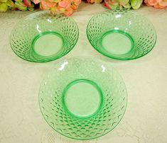 Vintage Depression Opaline Vaseline Uranium Glass Bread Plate Translucent Petal