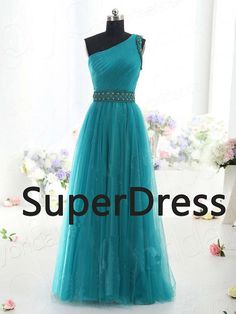 One shoulder green tulle beaded sash A line Prom dress,evening dresses,prom gowns, fashion dress