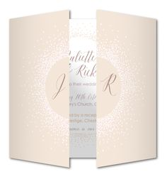 Circle of light Wedding invitation by Planet Cards. A gorgeous glitter gatefold wedding invitation. This design is perfect for a whimsical wedding!
