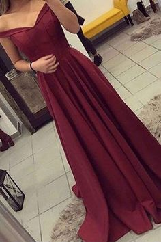 Elegant Wine Red Chiffon Prom Dress, Evening Gown, Off The Shoulder Dress
