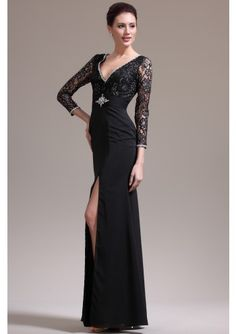 Sheath Column V Neck Floor Length Chiffon Black Military Ball Dress With Beading