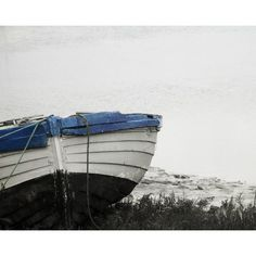 Boat Nautical Photography Winter Landscape Black And White Blue Home... (91 ILS) via Polyvore featuring home, home decor, wall art, landscape wall art, black and white home decor, nautical theme home decor, nautical home decor and black and white photography wall art
