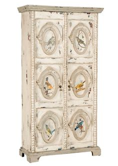 Decorative Songbird Armoire in Vintage Cygne Blanc-Guildmaster. 36Wx15Dx67H