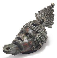 Roman bronze oil lamp, c. 1st century A.D.