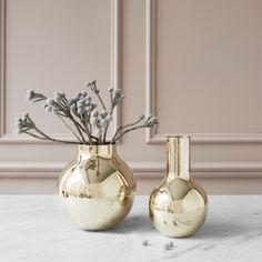 SKULTUNA Boule Vase, Tall in Polished Brass 23cm
