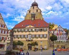 IT STARTED IN STUTTGART...: Herrenberg - whose church leans heavily over its h...