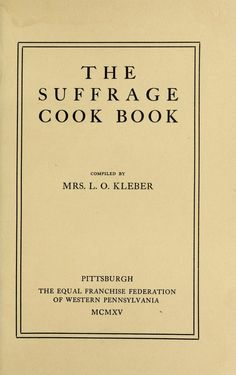 The suffrage cook book