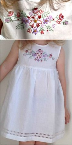 I hand embroidered this design for a friend's daughter.  I purchased a plain white linen dress, hand drew the pattern, and then hand embroidered.  Not a great photo for detail, but I was very pleased with the results!