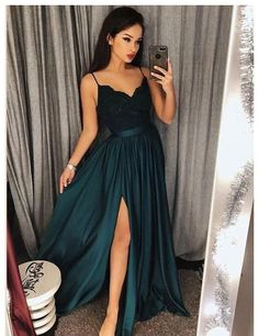 Spaghetti+Straps+Chiffon+Prom+Dress+with+Slit    Made+to+order,+can+be+made+with+any+change.    Pls+order+at+least+2+months+earlier+before+your+event+day.    Fabric:+Chiffon  Available+Color:+As+Picture+or+Custom+Color(pls+leave+the+color+or+color+code+in+the+order+note+section+since+color+varian...