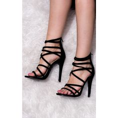 SpyLoveBuy Uzi Open Peep Toe High Heel Stiletto Strappy Sandals Shoes... ($37) ❤ liked on Polyvore featuring shoes, sandals, black, black shoes, black strappy sandals, black stilettos, suede sandals and black strap sandals